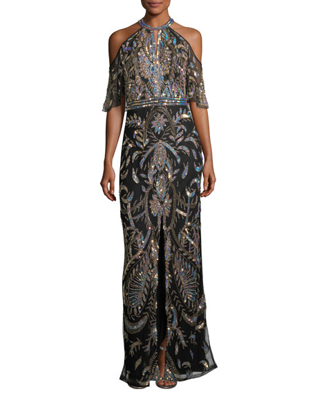 Parker Black Amy Cold-Shoulder Sequin Evening Gown