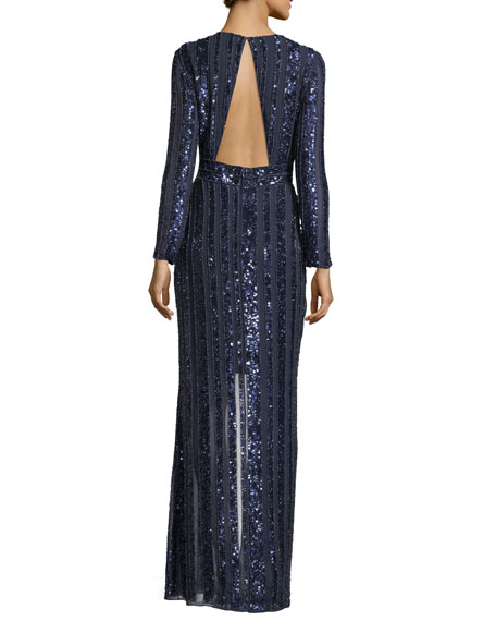 Joyce Long-Sleeve Sequin & Bead Evening Gown