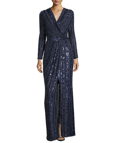 Joyce Long-Sleeve Sequin & Bead Evening Gown