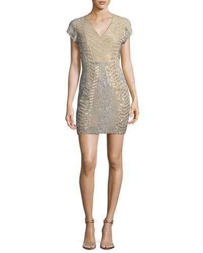 Serena V-Neck Sequin & Bead Cocktail Dress