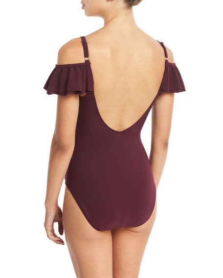 Frutti Gala Off-the-Shoulder Ruffled One-Piece Swimsuit