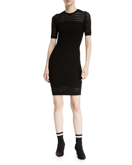 T by Alexander Wang Float-Stitch Lace Short-Sleeve Body-con