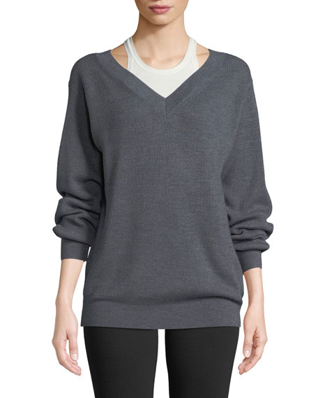 T by Alexander Wang Bi-Layer V-Neck Wool Sweater