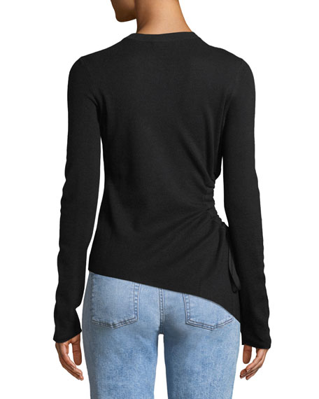 Ruched Cutout Wool Sweater