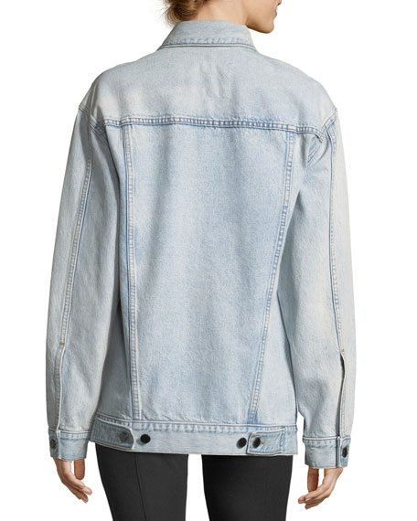 Daze Button-Front Bleached Denim Jacket
