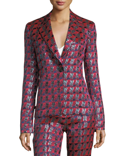 Metallic-Woven Tailored Jacket