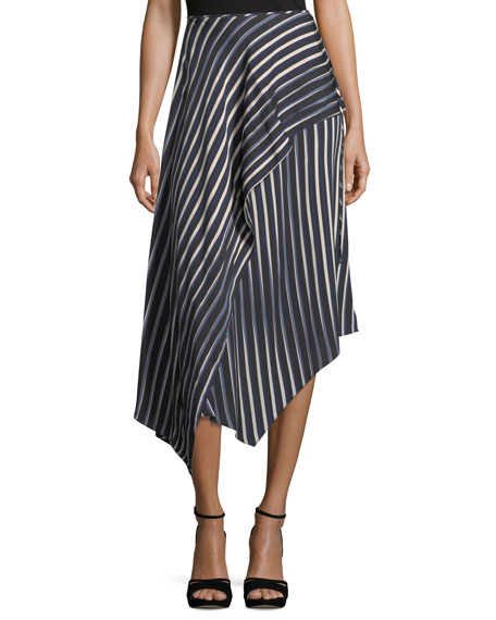 Diane von Furstenberg Striped Asymmetric Midi Skirt