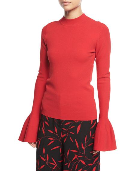 Flutter-Sleeve Mock-Neck Sweater