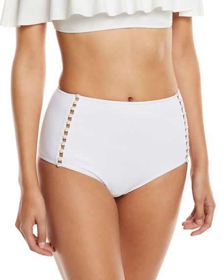 Jonathan Simkhai Pearl Studded High-Waist Bikini Swim Bottoms