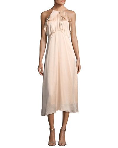 High-Neck Sleeveless A-Line Midi Dress