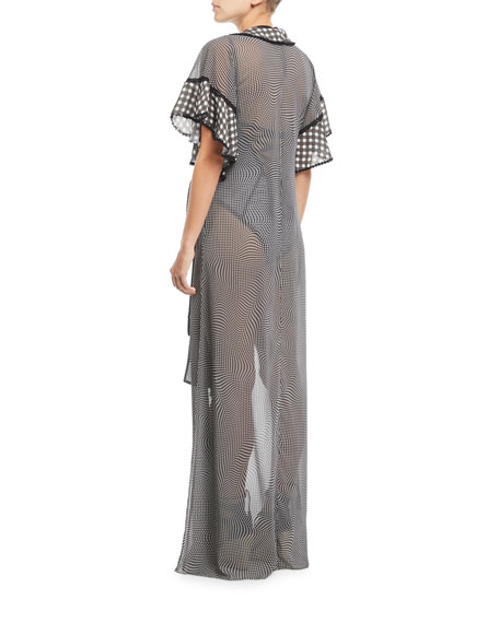 Mixed-Gingham Ruffle Coverup Robe