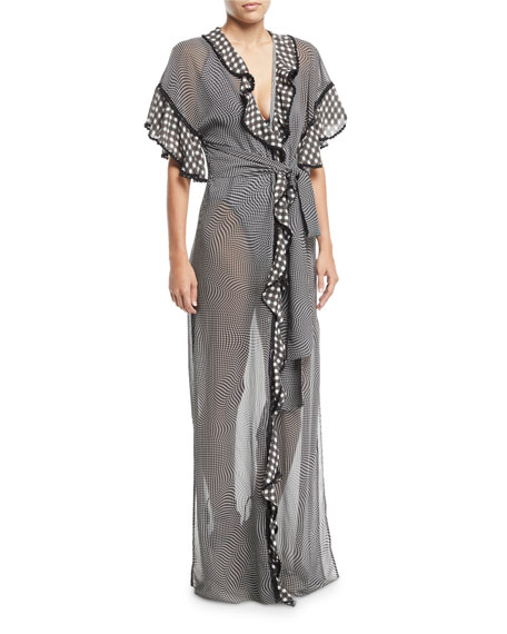 Jonathan Simkhai Mixed-Gingham Ruffle Coverup Robe and Matching