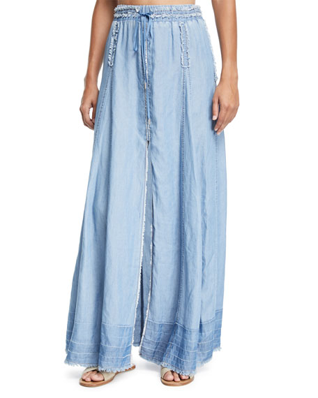 Jonathan Simkhai A-line Frayed-Edges Maxi Skirt