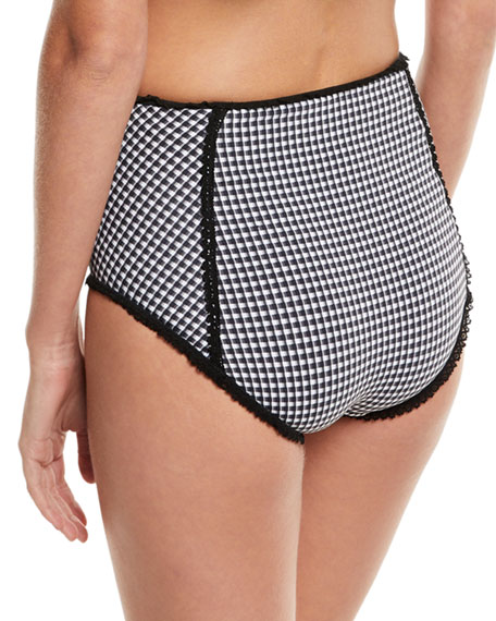 Mixed-Gingham High-Waist Bikini Swim Bikini Bottoms