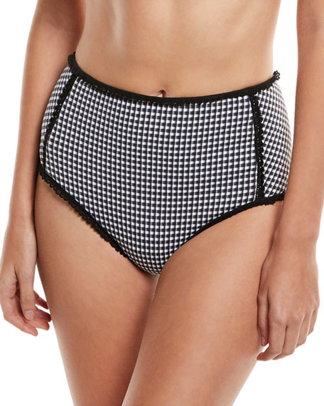 Jonathan Simkhai Mixed-Gingham High-Waist Bikini Swim Bottoms