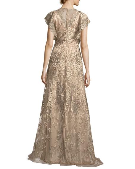 Sleeveless Ruffled Metallic Lace Gown