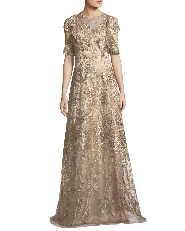 David Meister Sleeveless Ruffled Metallic Lace Gown | Neiman Marcus