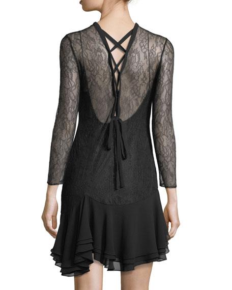 Plaza Lace-Up Mini Dress