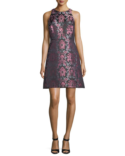tapestry fit-and-flare jacquard dress