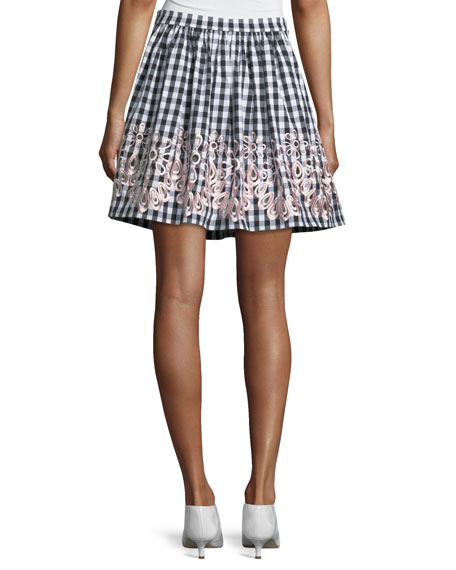 Embroidered-Trim Gingham Skirt
