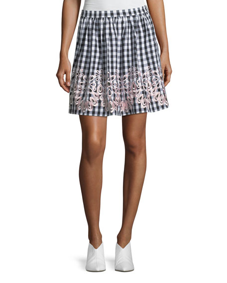 Boutique Moschino Embroidered-Trim Gingham Skirt