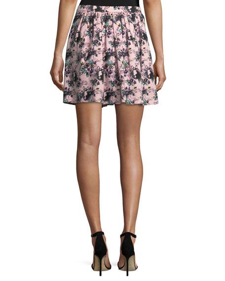 Floral-Print Matelassé Skirt