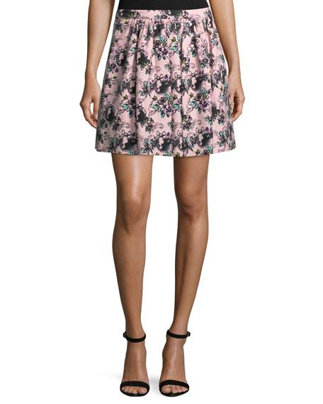 Boutique Moschino Floral-Print Matelassé Skirt