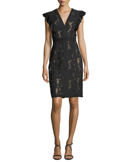 V-Neck Ruffle Cap-Sleeve Lace Appliqué Dress