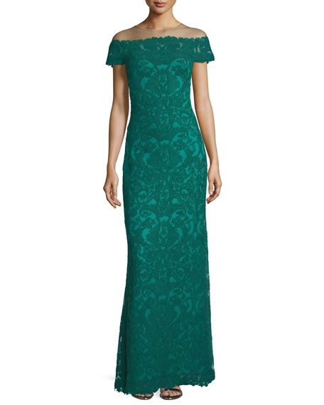 Off-the-Shoulder Cap-Sleeve Lace Illusion Gown