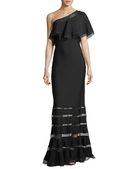One-Shoulder Pleated Evening Gown