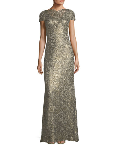 Evening gowns by occasion at neiman marcus short sleeve metallic v back evening gown junglespirit Choice Image