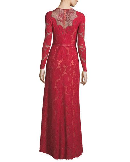 Long-Sleeve Lace Illusion Appliqué Evening Gown