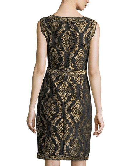 Sleeveless Baroque Jacquard Cocktail Dress