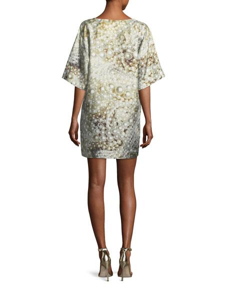 Pearl-Print Silk Shift Dress