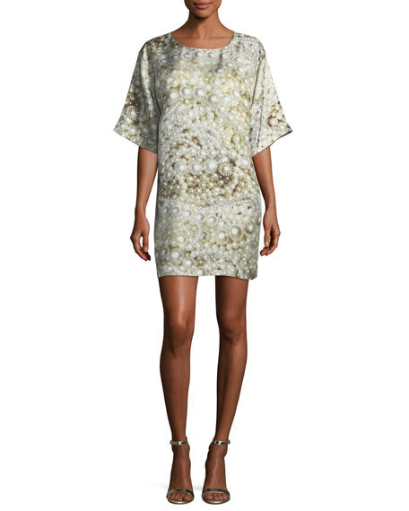 BOUTIQUE MOSCHINO Pearl-Print Silk Shift Dress in Khaki