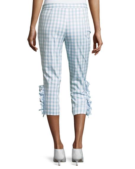 Ruffled-Trim Gingham Capri Pants