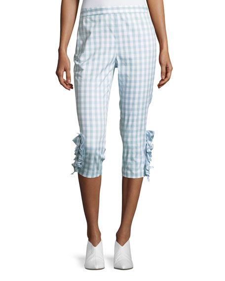 Boutique Moschino Ruffled-Trim Gingham Capri Pants