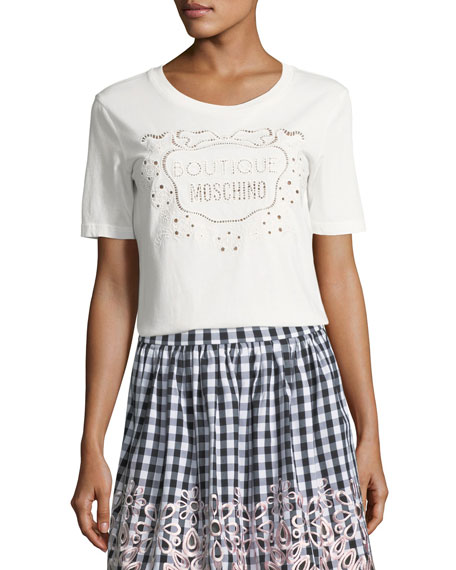 Boutique Moschino Logo-Front Short-Sleeve Tee