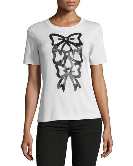 Boutique Moschino Bow-Print Short-Sleeve Tee