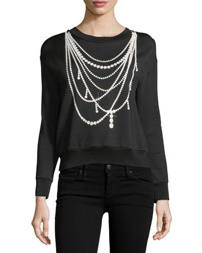 Pearl Necklace-Print Sweatshirt