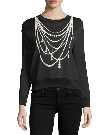 Pearl Necklace-Print Sweatshirt