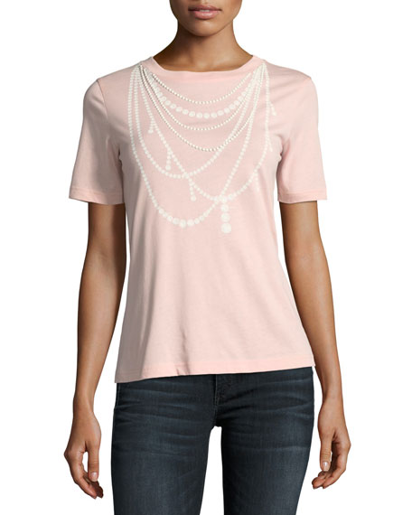 Boutique Moschino Pearl Necklace-Print Tee