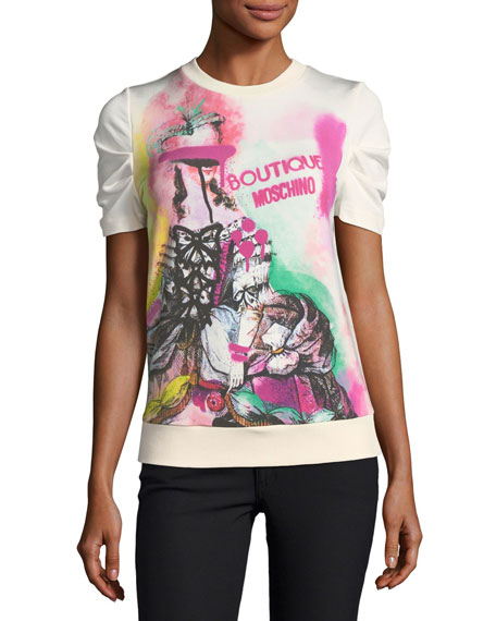 Boutique Moschino Marie Antoinette Graphic Short-Sleeve Sweatshirt