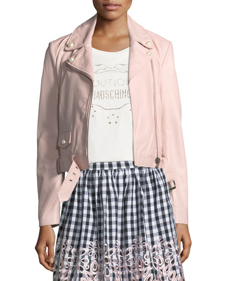 Boutique Moschino Pearl-Trim Leather Moto Jacket