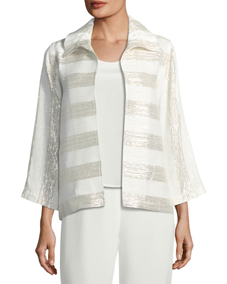 Metallic Striped Ruched-Collar Jacket, Plus Size