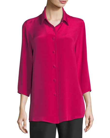 Caroline Rose Silk Crepe Cocktail Blouse, Plus Size