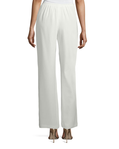 Silk Crepe Lined Wide-Leg Pants, Petite