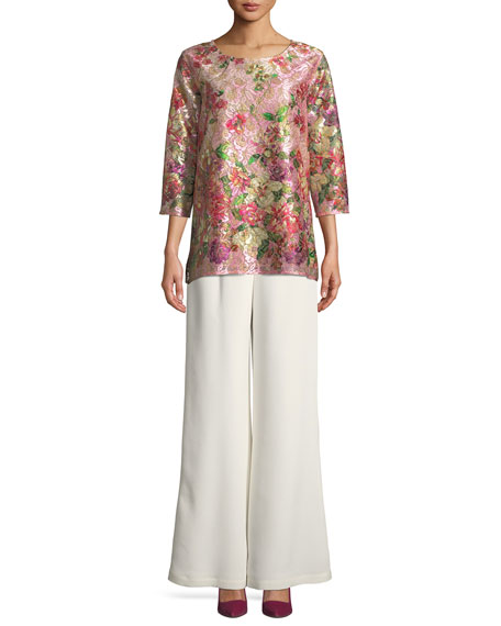 Silk Crepe Lined Wide-Leg Pants