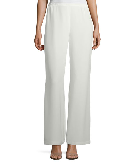 Caroline Rose Silk Crepe Lined Wide-Leg Pants, Plus
