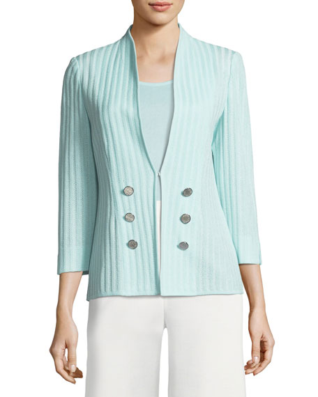 Misook Ribbed 3/4-Sleeve Jacket, Petite